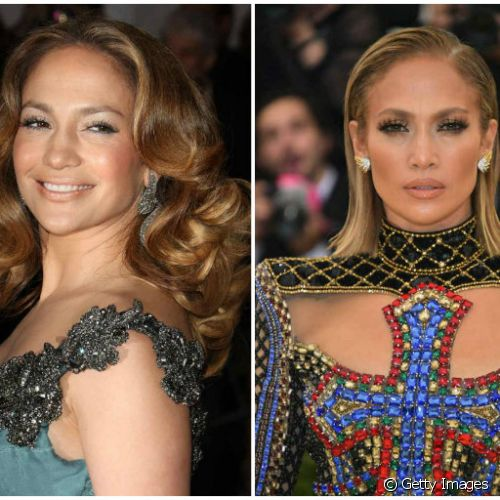 No MET Gala 2008, Jennifer Lopez apostou no blush marcado e na sombra prateada, e 10 anos depois, o blush marrom e o contorno de make apareceram no look do evento (Foto: Getty Images)