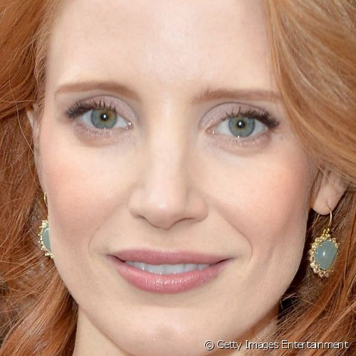 "Jessica Chastain escolheu maquiagem nude para a premiére do filme ""The Disappearance Of Eleanor Rigby"""