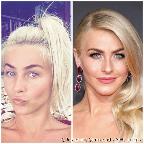 As sobrancelhas de Julianne Hough são marcantes tanto no look no makeup quanto nas maquiagens de festa (Foto: Instagram @juleshough/ Getty Images)